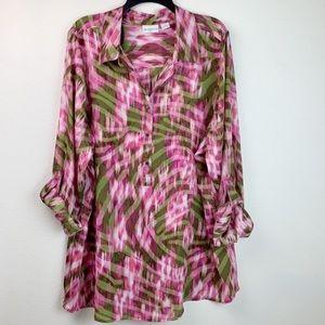 Liz Claiborne tropical tab sleeve tunic blouse EUC